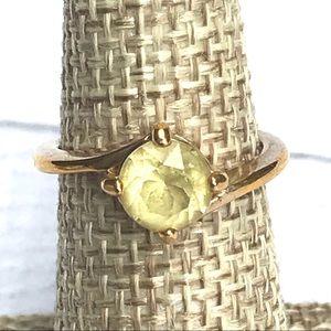 Avon citrine gold ring yellow stone estate jewelry